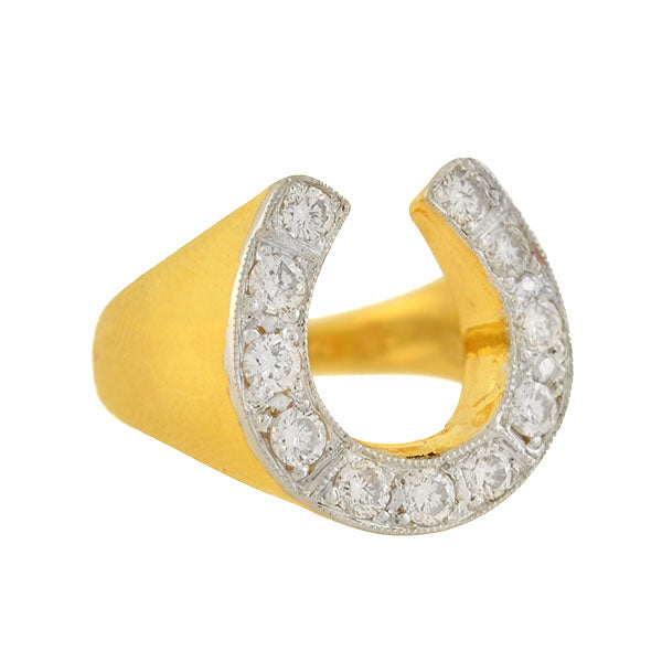 Estate 14kt Yellow Gold Diamond Horseshoe Ring
