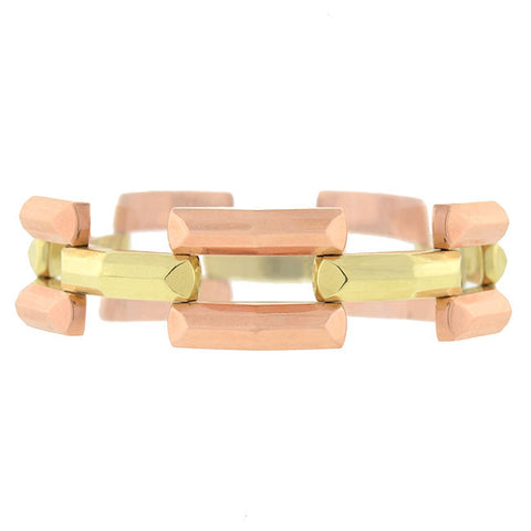 Retro 14kt Rose & Yellow Gold Gate Link Bracelet