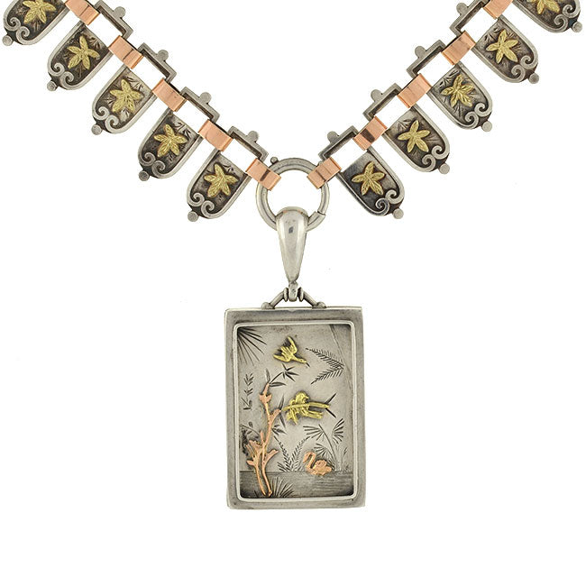 Victorian Mixed Metals Nature Motif Book Chain & Locket Necklace