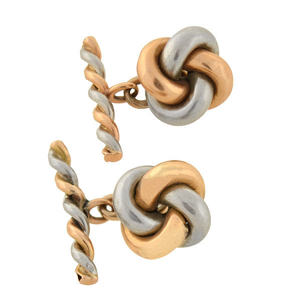 Victorian 18kt & Platinum Mixed Metals Love Knot Cufflinks