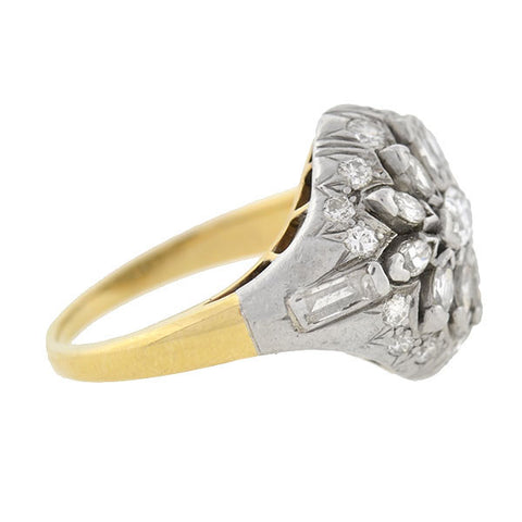 Art Deco 18kt & Platinum Marquise Diamond Flower Cluster Ring