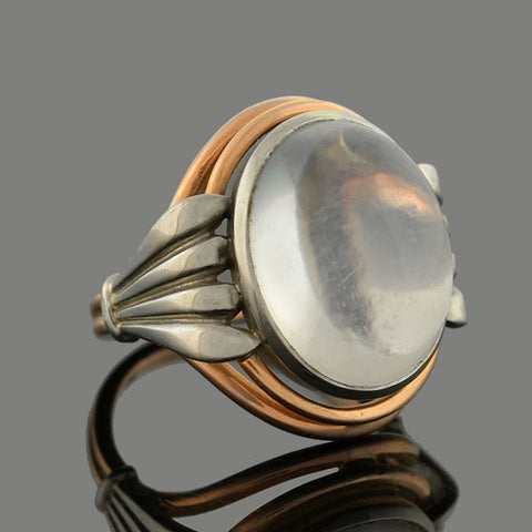 Art Nouveau Platinum + 14kt Mixed Metals Moonstone Ring