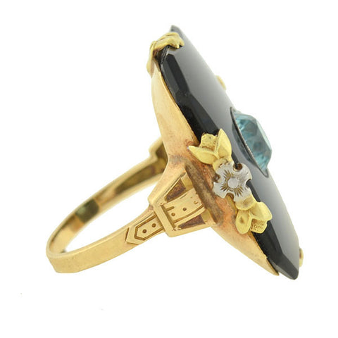 WALTER LAMPL Art Deco 10kt Blue Zircon & Onyx Plaque Ring