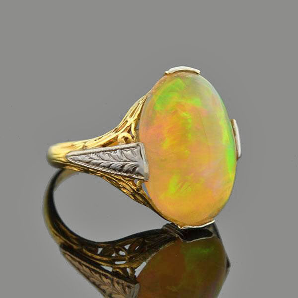 Late Art Deco 10kt Mixed Metals Opal Ring