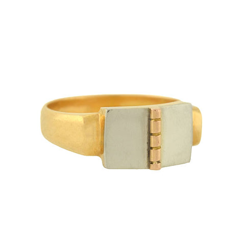 "Art Deco French 18kt Mixed Metals ""Open Book"" Signet Ring"