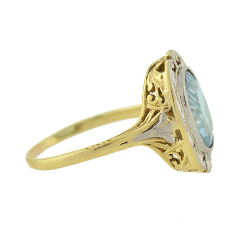 Edwardian 14kt/Platinum Aquamarine Ring 2.25ct