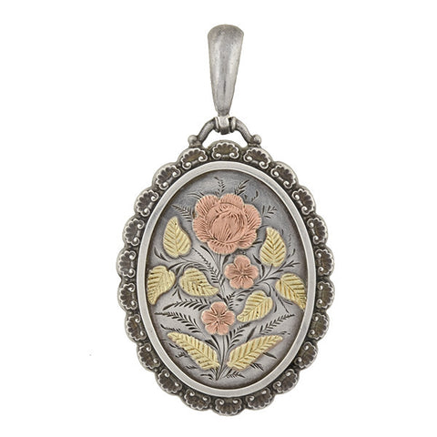 Victorian English Sterling Mixed Metals Floral Locket