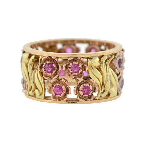 Retro 14kt Mixed Metals & Pink Sapphire Flower Band