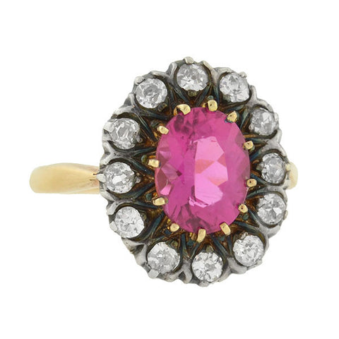 Victorian Silver & 18kt Pink Tourmaline & Diamond Ring