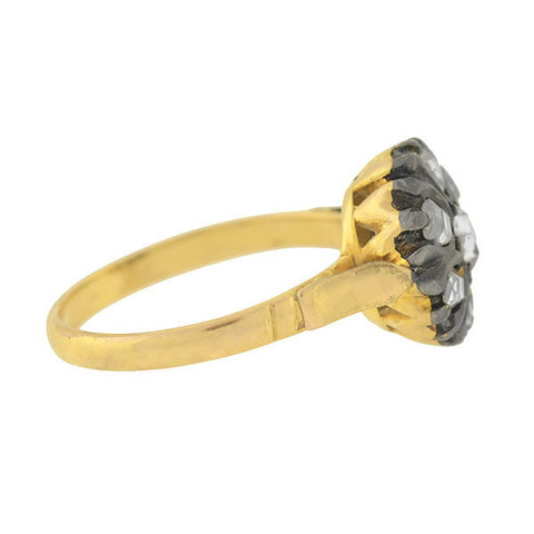 Victorian Style 14kt Table Cut Diamond Cluster Ring .60ctw