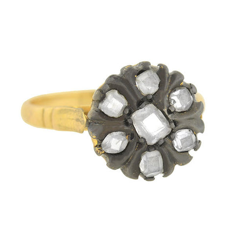 Victorian Style 14kt Rose Cut Diamond Cluster Ring .60ctw