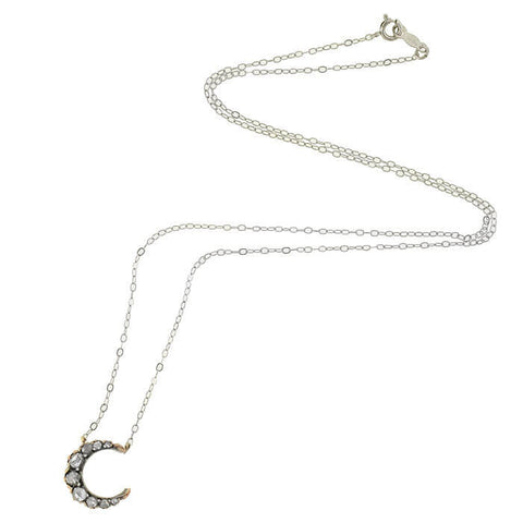 Victorian Petite 14kt/Sterling & Diamond Crescent Necklace