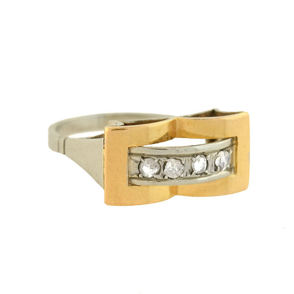 Edwardian French 18kt Two-Tone Diamond Ring