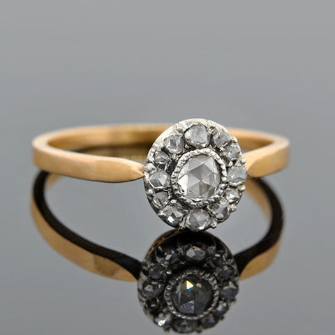 Victorian Silver Topped 18kt Rose Cut Diamond Cluster Ring