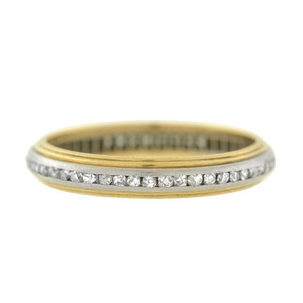 Edwardian Platinum & 14kt Rose Cut Diamond Band