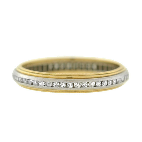 Edwardian Platinum & 14kt Rose Cut Diamond Eternity Band
