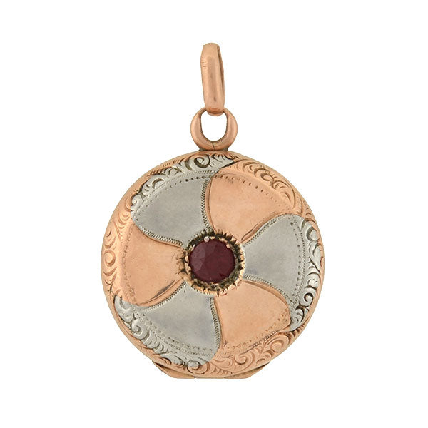 Edwardian 10kt/Platinum Mixed Metals Garnet Pinwheel Locket