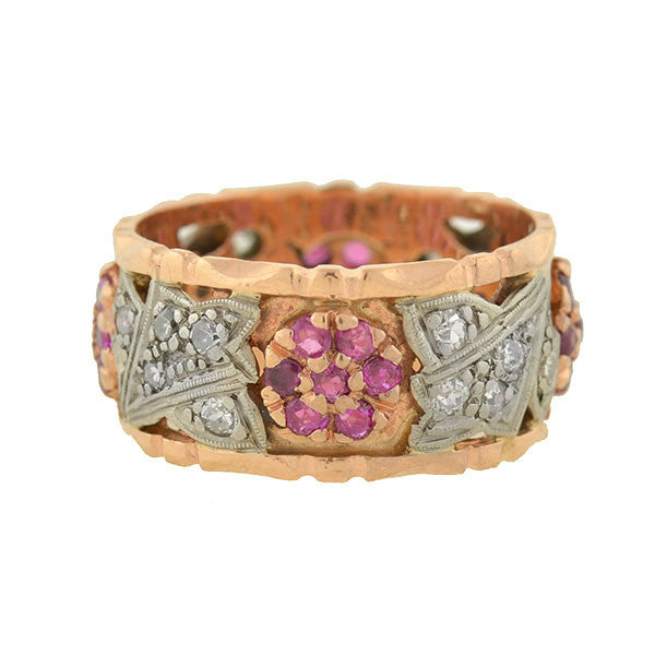 Retro Ruby & Diamond 14kt Rose Gold Band Ring