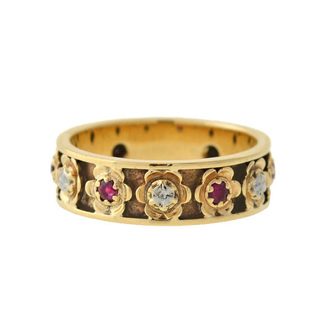 Retro 14kt Mixed Metals Ruby Flower Band