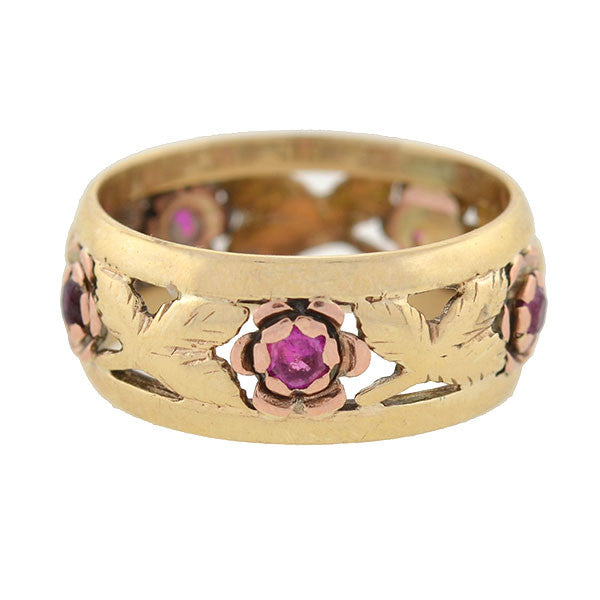 Retro 14kt Ruby & Diamond Floral Motif Cutout Band