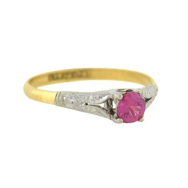 Edwardian 18kt Mixed Metals Ruby Ring .25ct