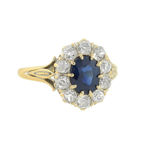 Art Deco 10kt Sapphire & Diamond Ring .70ct