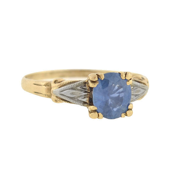 Edwardian 10kt Mixed Metals Sapphire Ring .75ct