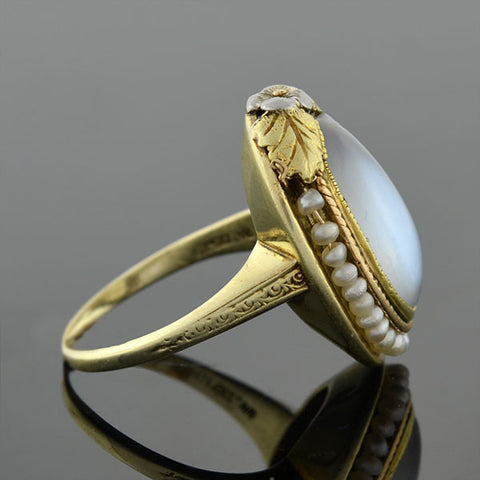 Art Nouveau 14kt Moonstone & Natural Seed Pearl Ring