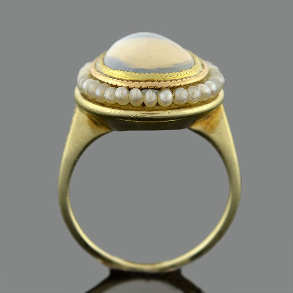 art nouveau 14kt moonstone natural seed pearl ring a brandt son