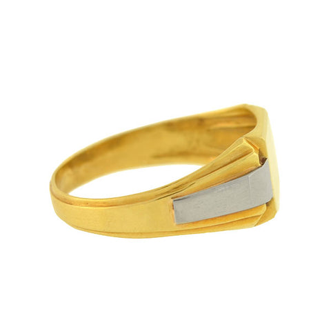 Art Deco French 18kt Mixed Metals Signet Ring