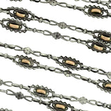 Art Nouveau Silver & 10kt Mixed Metals Chain Necklace 54