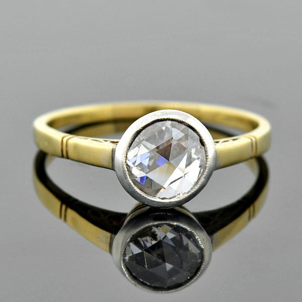 Victorian 14kt Rose Cut Diamond Ring 0.80ct