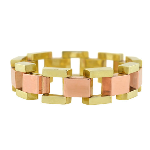 Retro 14kt Mixed Metals 2-Tone Tire Track Bracelet