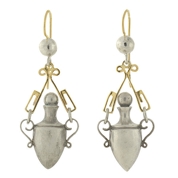 Victorian Sterling/14kt Hanging Urn Earrings