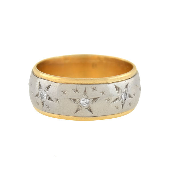 Retro 14kt Mixed Metals Diamond Star Motif Band Ring
