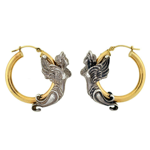 Estate 14kt Mixed Metals Angel Earrings