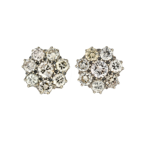 Late Art Deco 14kt/Sterling Diamond Flower Cluster Stud Earrings 2.04ctw