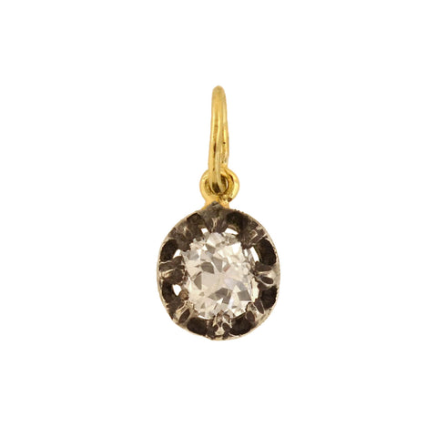 Victorian Petite Sterling/14kt Cushion Cut Diamond Pendant 0.65ct