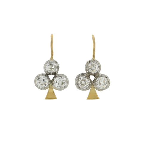 Victorian Petite 14kt/Sterling Diamond Trefoil Earrings 1.20ctw