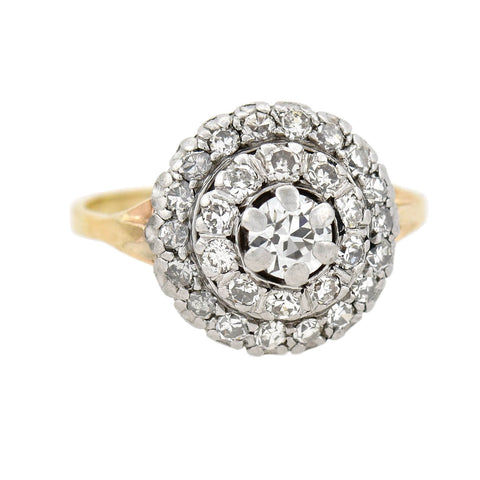 Edwardian 14kt/Platinum Diamond Cluster Ring 0.60ctw