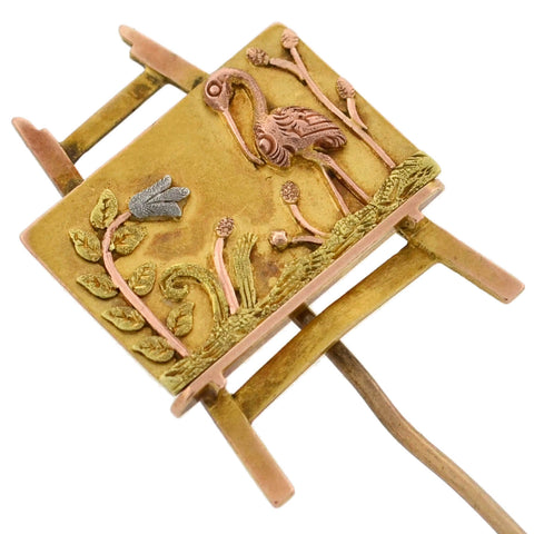 "Art Nouveau Mixed Metals ""Aesthetic Movement"" Art Easel Stick Pin"
