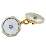 Edwardian Platinum/18kt Mother of Pearl Diamond Cufflinks