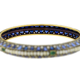 Edwardian Mixed Metals Sapphire, Pearl & Diamond Bangle Bracelet