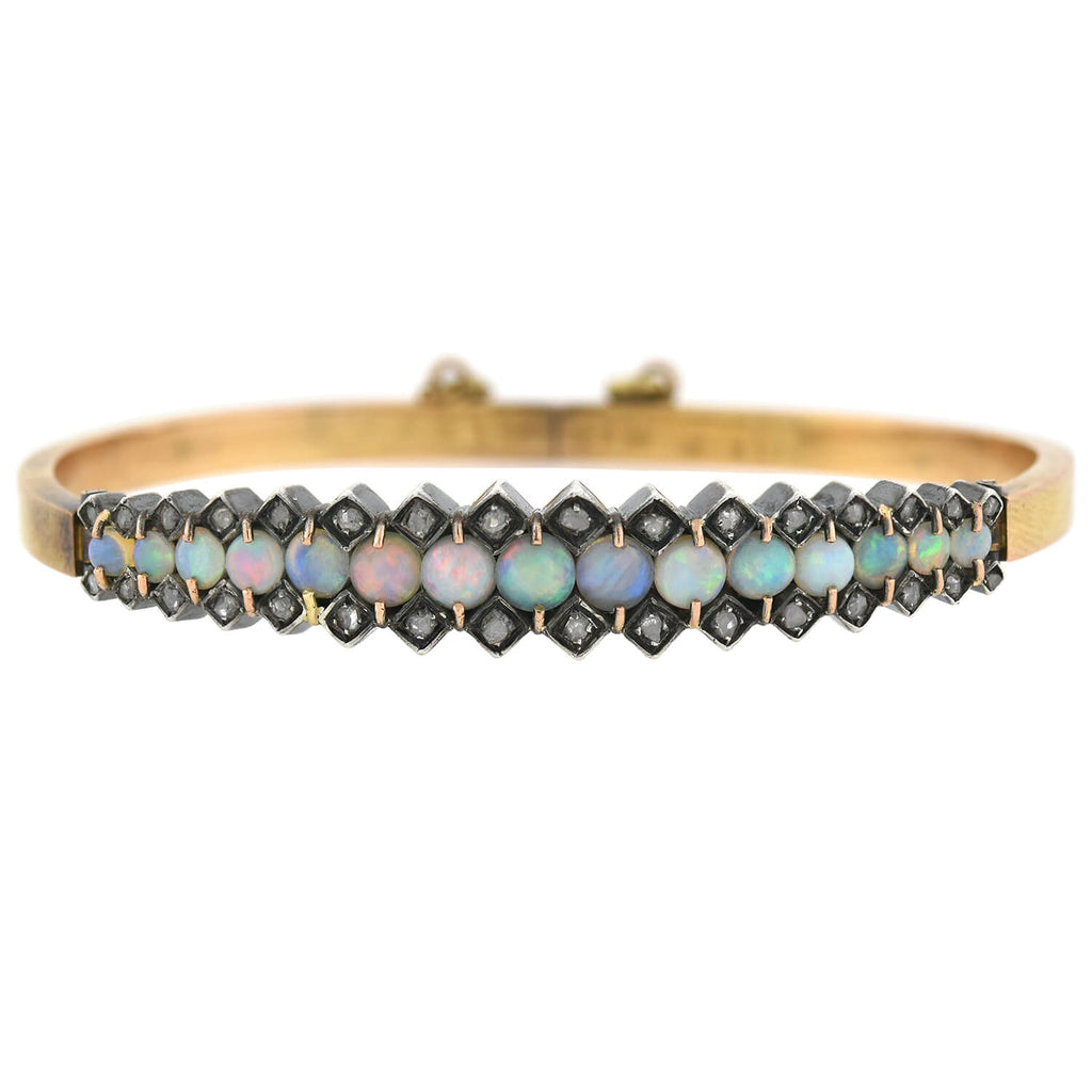 Victorian Sterling/18kt Opal + Rose Cut Diamond Hinged Bangle Bracelet