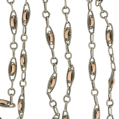 Victorian French Sterling/10kt Mixed Metals Muff Chain Necklace 54.5""