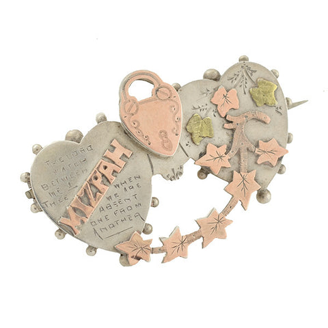 "Victorian Mixed Metals ""MIZPAH"" Hearts & Padlock Pin"