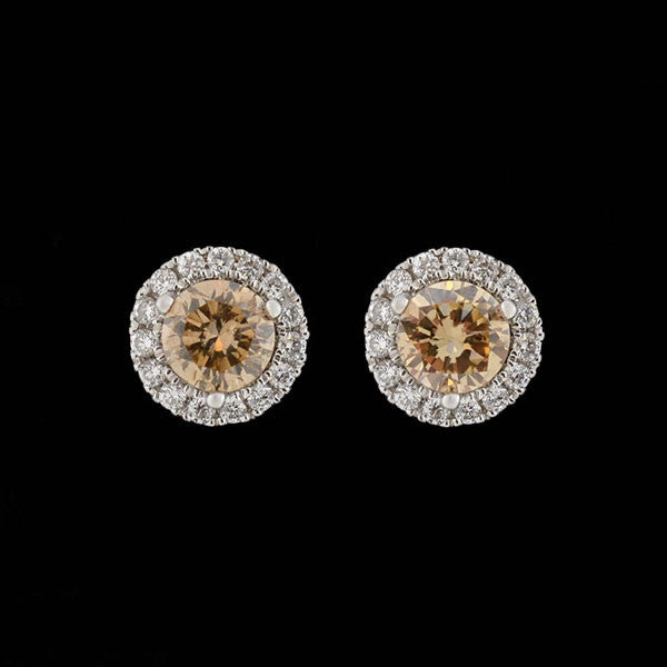 Estate 14kt Champagne Diamond Stud Earrings w/ Diamond Halo 0.45ctw