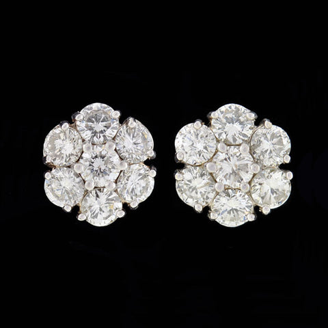 Estate 14kt Diamond Flower Stud Earrings 3.00ctw