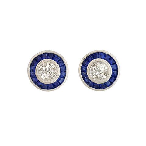 Art Deco Style 18kt Sapphire Diamond Stud Earrings 0.50ctw