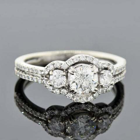 Estate 18kt Diamond Halo Engagement Ring 0.59ct center